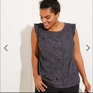 NWT loft plus grey shirt shell lace size 20